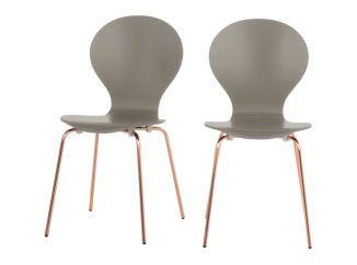 2 x Kitsch Stühle, Aschgrau mit Kupferbeinen