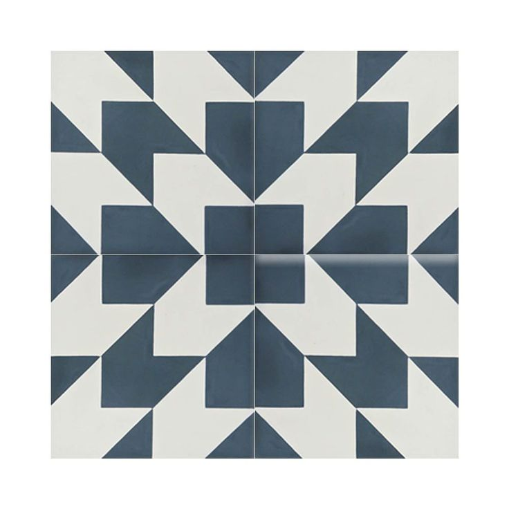 Mosaic Oujda Blue and White Handmade Moroccan 8 x 8 inch Cement and Granite Floor or Wall Tile (Case of 12) (Oujda Blue and White)