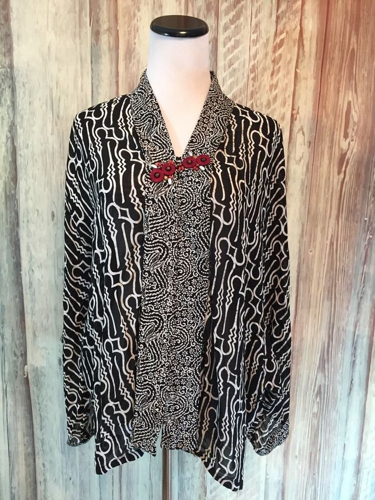 Danar Hadi Batik Tunic Blouse Top Ethnic Black White Beaded Kimono Sleeve OS EUC #DanarHadi #Tunic