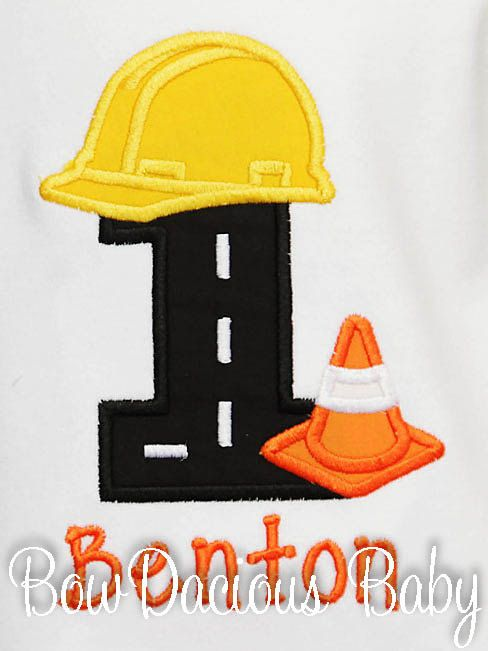 Construction 1st Birthday Shirt Construction by bowdaciousbaby