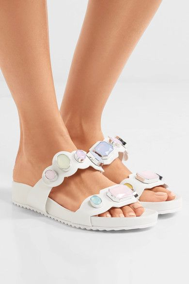 Heel measures approximately 15mm/ 0.5 inches White leather Velcro-fastening strap Imported