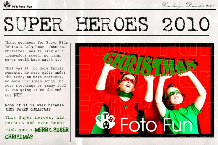 Christmas cards, PERSONALISED- NEWSPAPER- Super Christmas heroes