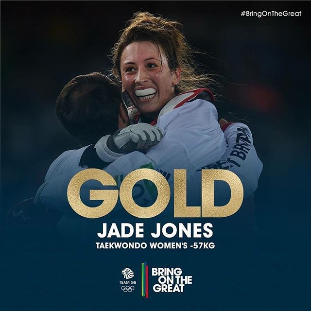 #Gold! She does it! A magnificent final round sees Jade Jones retain her Olympic #taekwondo crown! Brilliant! Congratulations Jade! #BringOnTheGreat