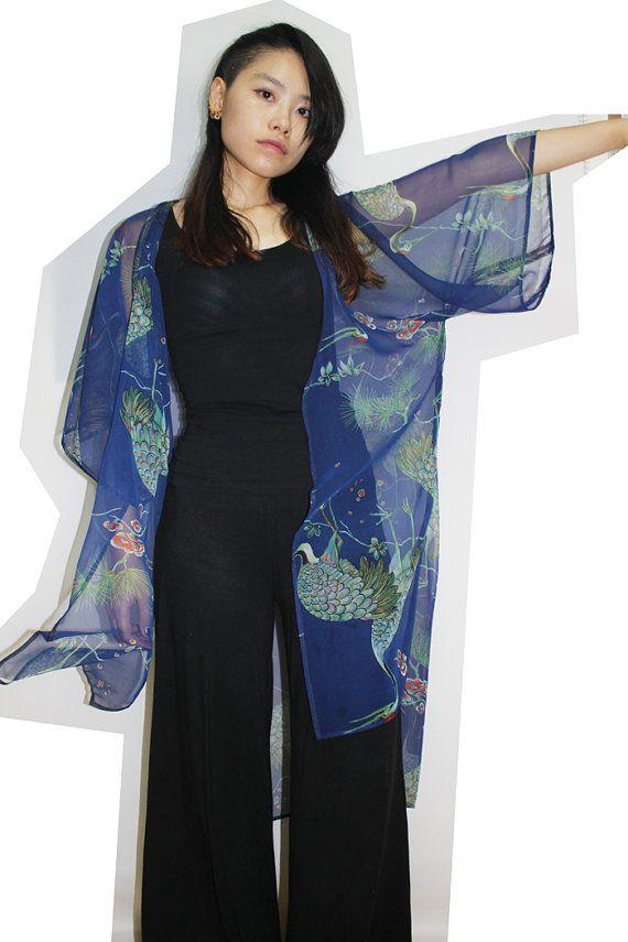 Perdre la silhouette -Style ouvert, aucun bouton de nore à capuche attachée -Faites de mousseline légère avec de belles japonais imprimer