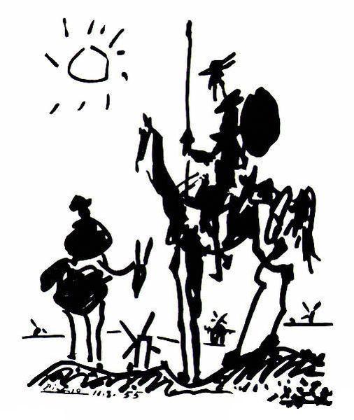 """Pablo Picasso, """"Don Quijote"""".  dibujo a pluma de Picasso. siluetas inconfundibles."""