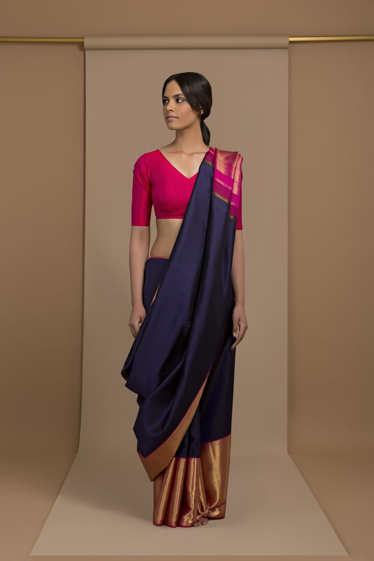 Gorgeous Navy Saree with Magenta Pallu and Wide Bottom Zari Border