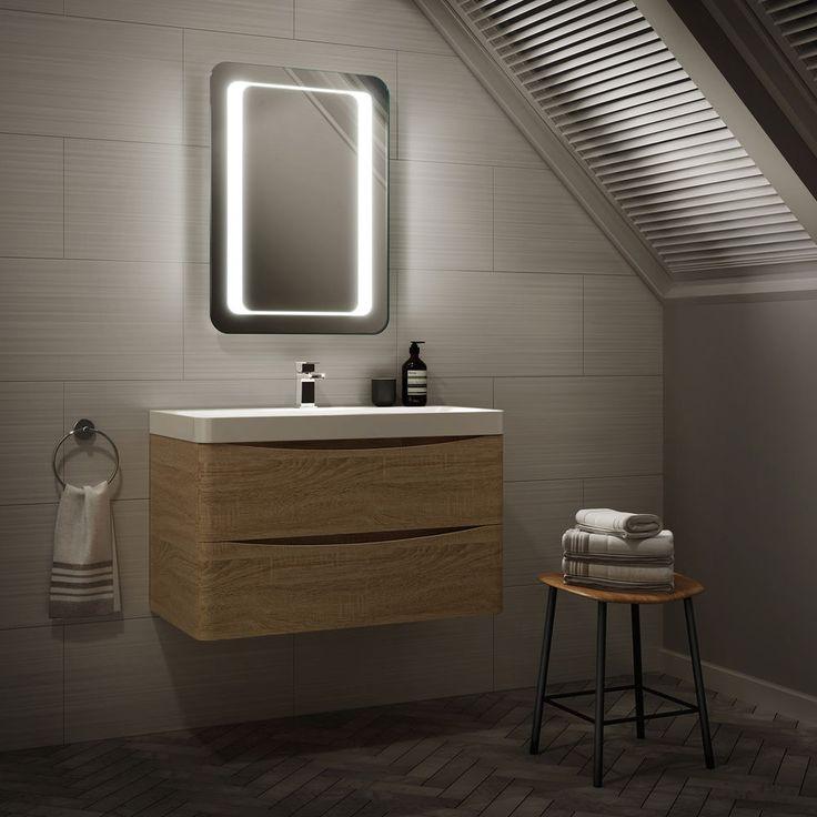 Wall Hung Basin Vanity Unit Sink Compact Oak Bathroom Furniture +FREE LED MIRROR