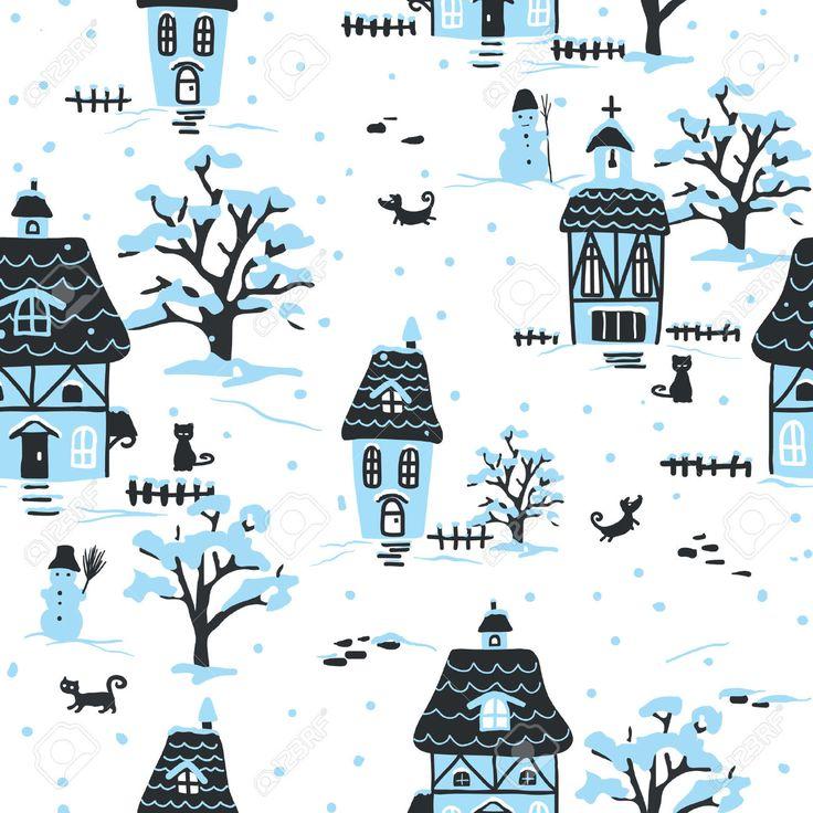Рождественские шаблон. Зимняя деревня сцена с домов, домашних животных и снега. Идеально подходит для печати на ткани и бумаге или лом бронирования. Коттедж стиль. Ручной обращается иллюстрации. Клипарты, векторы, и Набор Иллюстраций Без Оплаты Отчислений. Image 33385193.