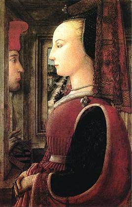 Filippo Lippi - Ritratto di donna con un uomo al davanzale