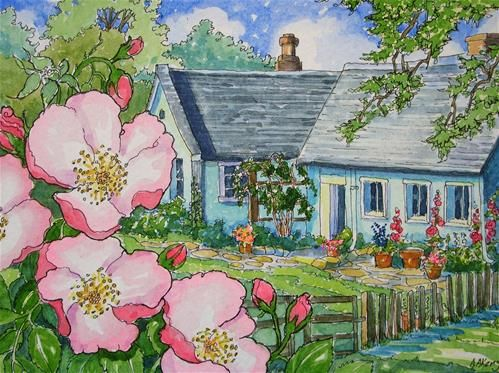 """""""Where the Wild Rose Grows Storybook Cottage Series"""" - Original Fine Art for Sale - � Alida Akers"""