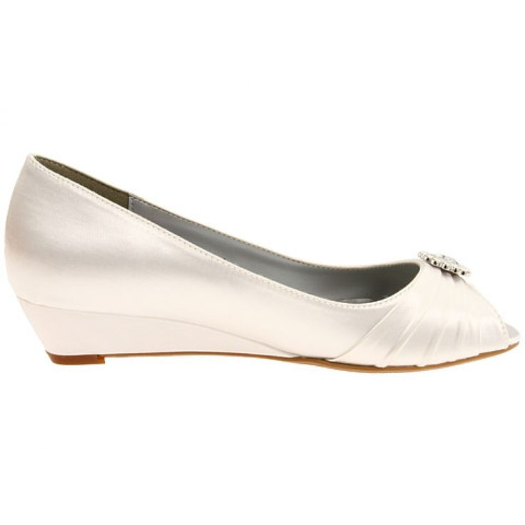 Anette By Dyeables Wedding Wedges In White WIDE WIDTH
