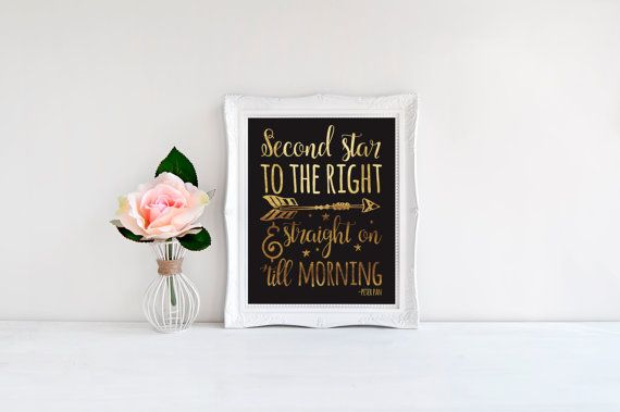 Neverland Art - Second Star To The Right - Real Foil Print - Foil Nursery Decor - Foil Quote Prints - Nursery Wall Art - Gift For Her