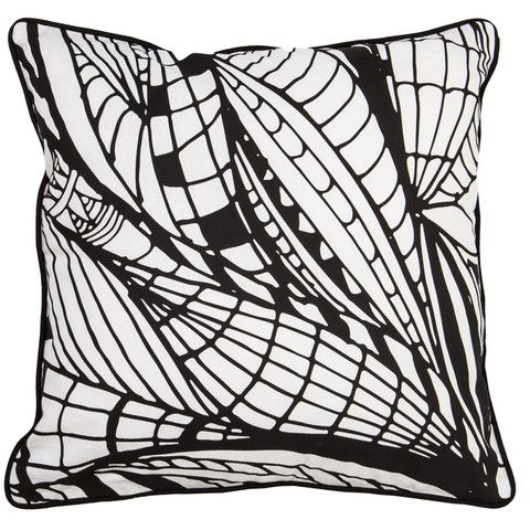 Black and White Cushion - Wings Pattern