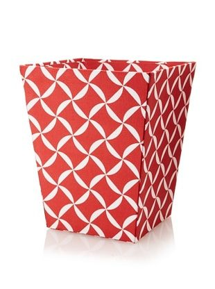 48% OFF Image By Charlie Cotton Sateen Taylor Wastepaper Basket, Geometric, Cherry Red