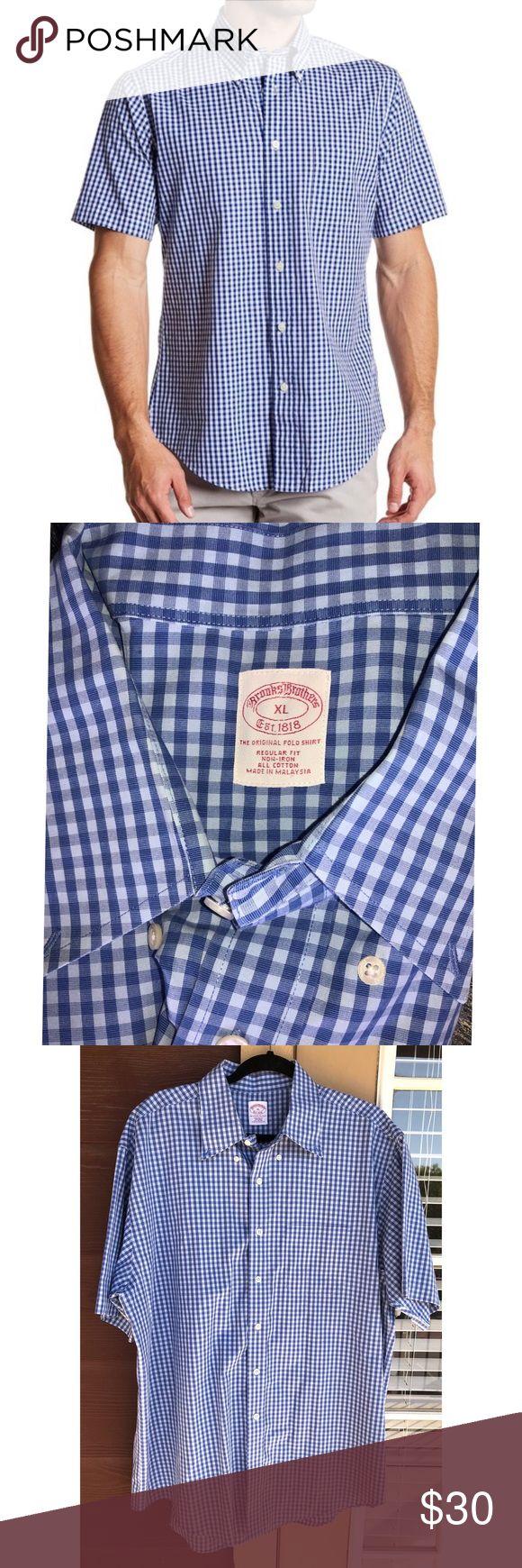 BROOKS BROTHERS Blue Checkered Gingham Shirt XL Blue