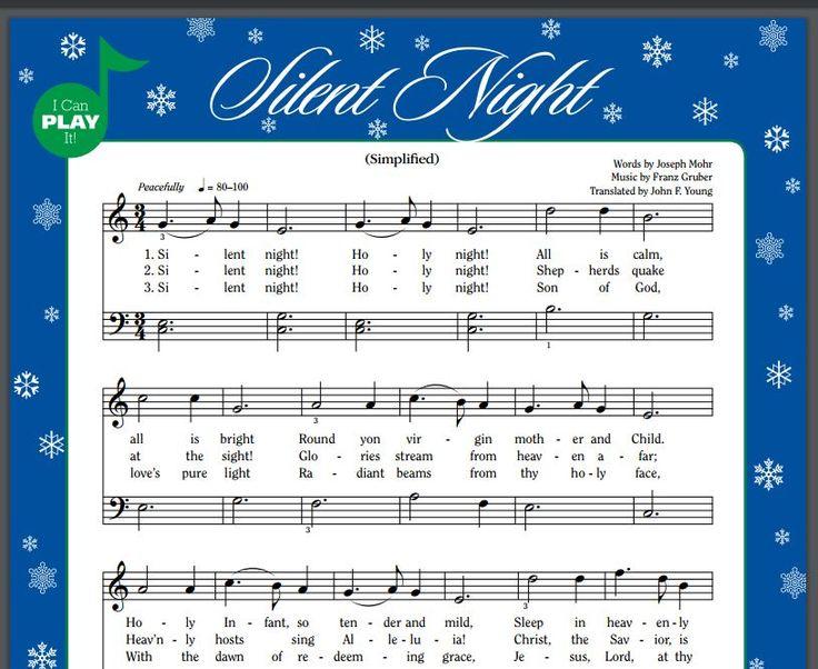 Silent Night simplified sheet music
