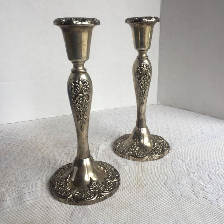 Vintage Silver Plate Candlestick Holders / Wedding Decor / Floral Candlesticks by vintagepoetic on Etsy