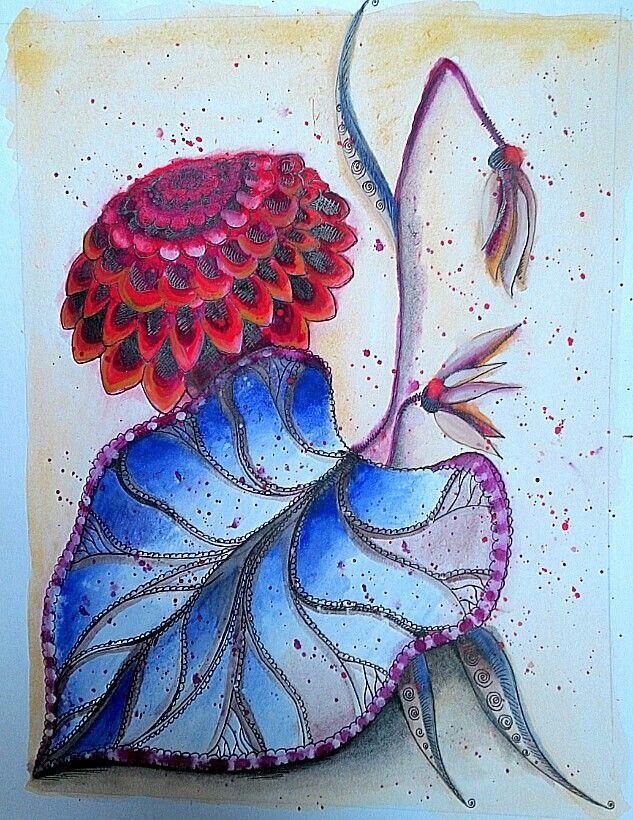 #watercolour #ink #flowers