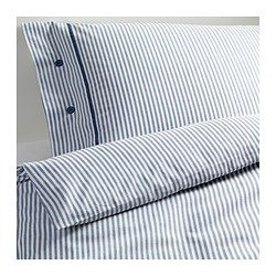 NYPONROS Duvet cover and pillowcase(s), white/blue - white/blue - Full/Queen (Double/Queen) - IKEA