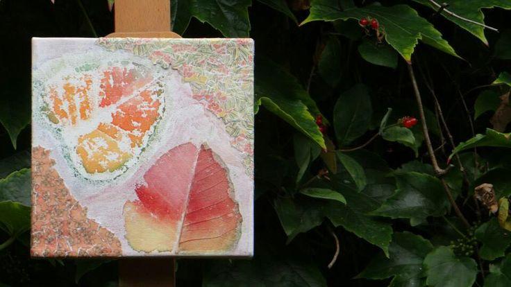 papier bladgeraamte en aquarel op doek