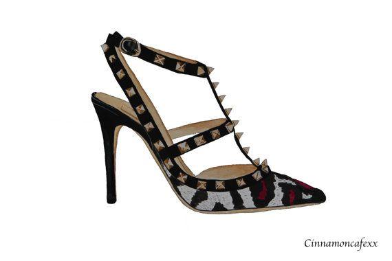 Leopard Valentino Rockstud pumps shoe fashion illustration print