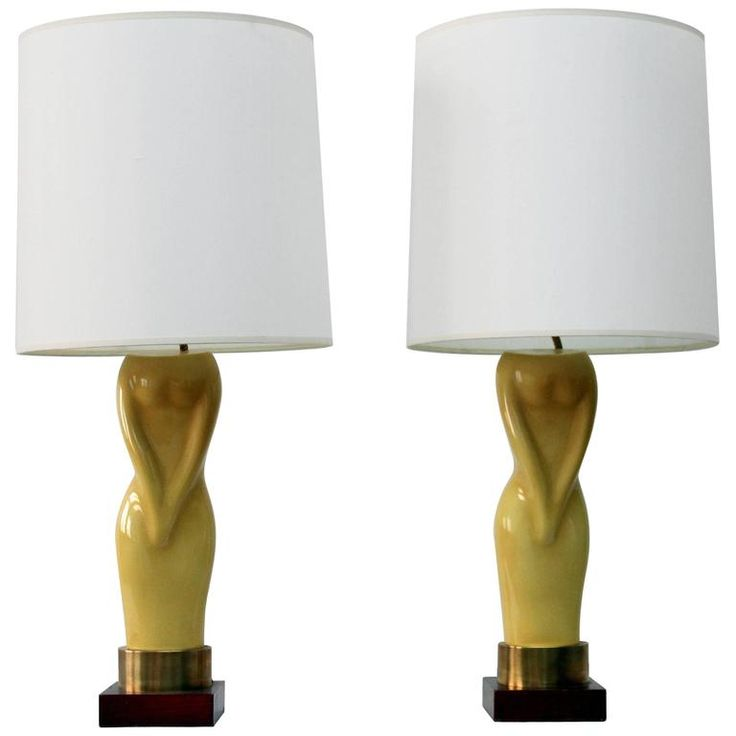 Pair of Womens Figural Yellow Lamps with White Shades | From a unique collection of antique and modern table lamps at https://www.1stdibs.com/furniture/lighting/table-lamps/