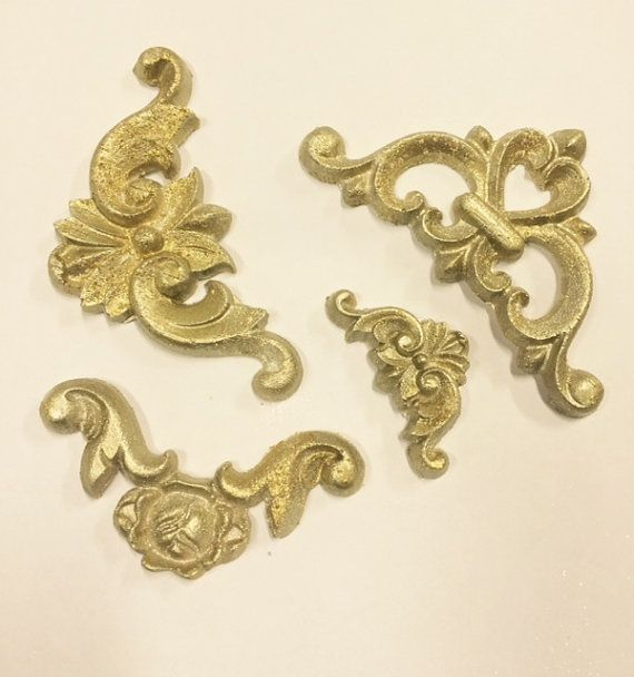 Victorian Ornaments, Baroque silicone mould, handmade vintage look mold, SCROLLS set