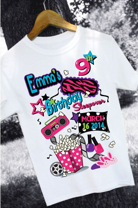 Girls SLUMBER PARTY Sleepover Birthday Personalized Tee PRINTABLE on Etsy, $40.00