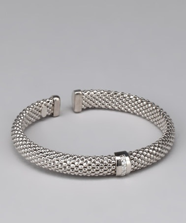 Take a look at this Silver Gem Band Popcorn Open Bangle by Yellow Gold, Inc. on #zulily today!