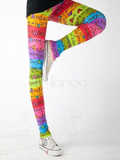 Schöne bunte Polyester Spandex Damen Leggings - Milanoo.com