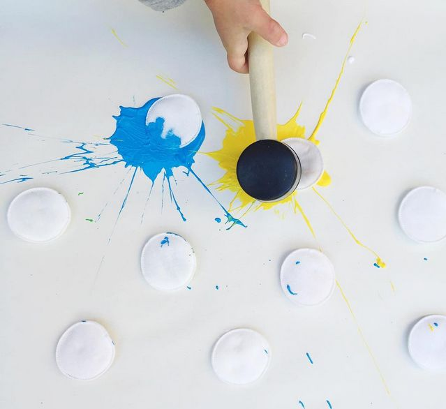 Paint Splat Art Activity For Kids -STEAM!  Number each cotton, hypothesize what color will be produced when 'splatted', test the hypothesis, communicate the results!  Also you can see what other colors are made when splats mix!