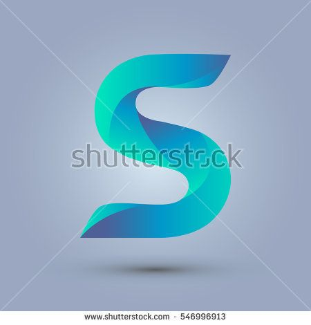 Letter S icon design and elegant typographic concept. gradient blue and green