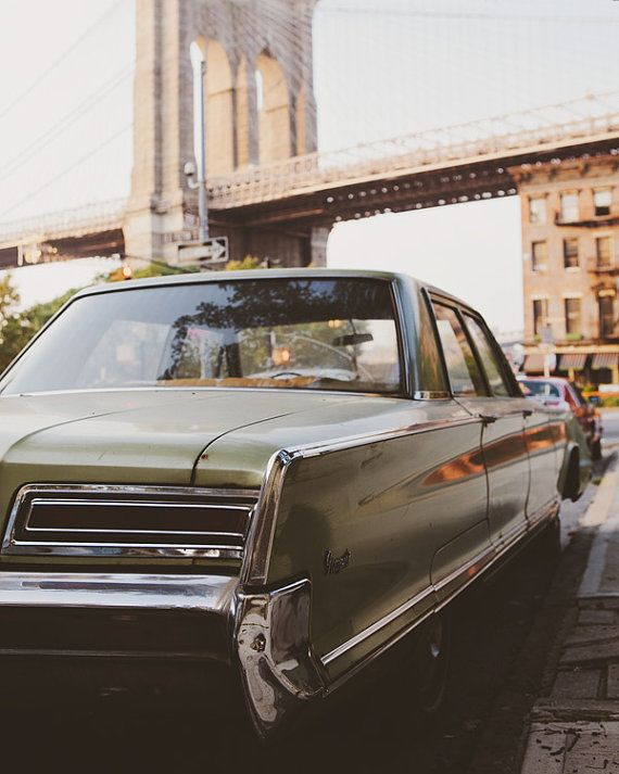 Classic Car Brooklyn Bridge NYC Art New by EyePoetryPhotography (Art & Collectibles, Photography, Color, Nyc, Classic Car, Brooklyn Bridge, NYC Art, New York Photography, Hipster Art Print, Green Vintage Car, Urban Art, Vintage Car, Art Print, New York City, Chrysler, Brooklyn)