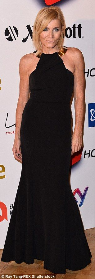 Sophisticated: Michelle Collins went all out in a slinky full-length gown...