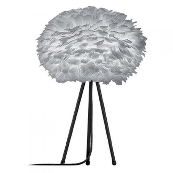 Eos fjäderlampa ljusgrå, bordslampa , Medium, Svart stativ