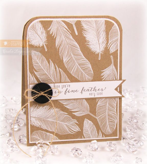handmade card from Stamp Talk with Tosh: Waltzingmouse ... kraft base ... top corners with big rounding ... gorgeous realistic feather stamped all over in a background pattern ... luv how sharp the white looks on kraft ... like the matching sentiment ... great card!!