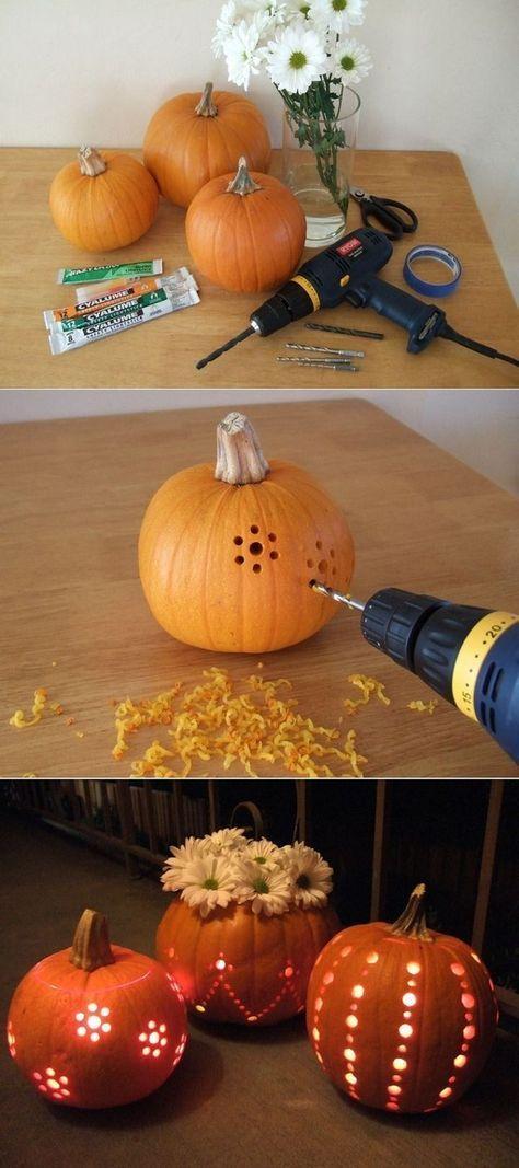 Drill pumpkin and create beautiful filigree patterns