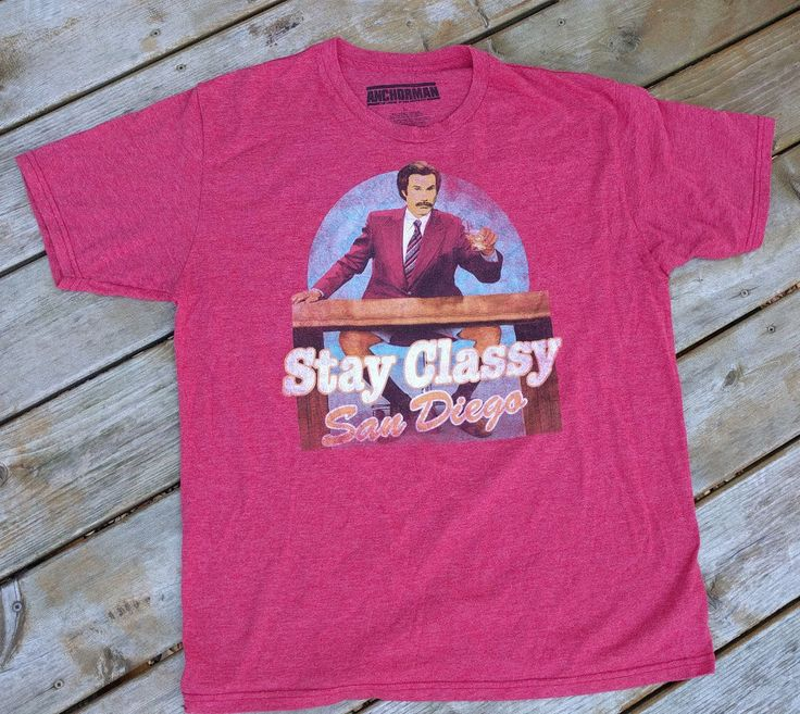 Anchorman Ron Burgundy Stay Classy San Diego Shirt - Red - Size Large #Anchorman #GraphicTee
