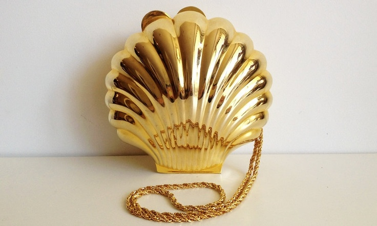 made in italy gold metal clam shell shape hard purse