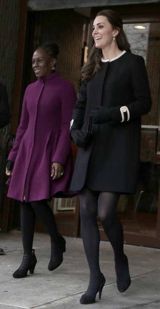 Catherine, Duchess of Cambridge (R) with Chirlane McCray, the wife of the mayor of New York City, leave Northside Center for Child Development on December 8, 2014 in New York City.