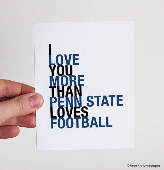 Penn State Football Card, I Love You More Than Penn State Loves Football, A2 on Etsy, $3.75