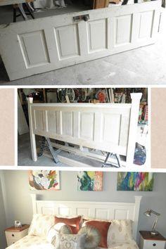 From old door to beautiful king sized headboard
