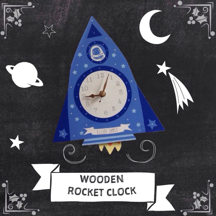 Excited to share the latest addition to my #etsy shop: Space Rocket wooden wall clock, personalised childs keepsake,nursery decor,godparent gift,baptism gift boy,personalised christening gift #housewares #clock #blue #baptism #bedroom #rocketthemebedroom #childrensclock #spacethemebedroom