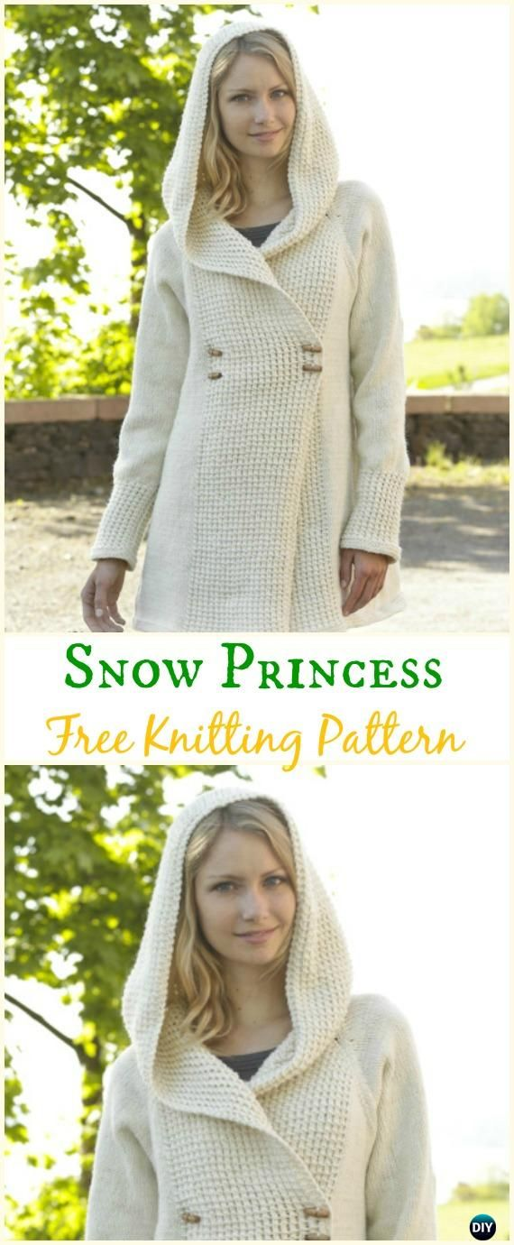 ec9b27308 Women s Snow Princess Jacket Hoodie Cardigan Free Knitting Pattern - Knit  Women Cardigan Sweater Coat Free Patterns