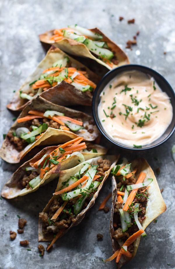 Mini Banh Mi Wonton Tacos - Cooking for Keeps