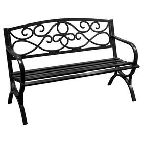 Picture Of Black Scroll Steel Bench