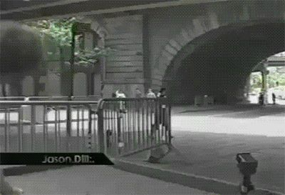 #FBF Jason Dill skating under the Brooklyn Bridge in Zoo York's short lived Video Magazine EST. Note Dill's personal cheerleader Chad Muska clapping him on.