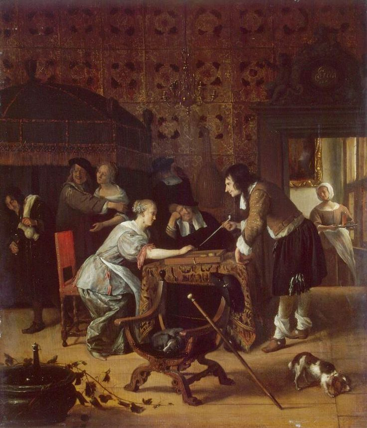 Jan Steen - De triktrakspelers in het bordeel
