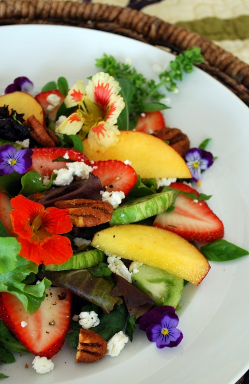 Strawberry Fields Salad with Edible Flowers (http://www.myrecipes.com/recipe/strawberry-fields-salad-10000002003441/)