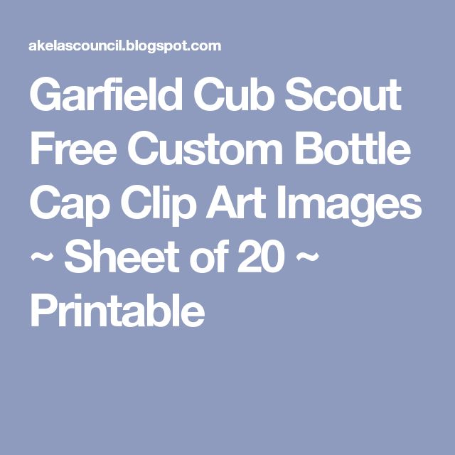 Garfield Cub Scout Free Custom Bottle Cap Clip Art Images ~ Sheet of 20 ~ Printable